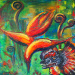 Texas painter artist Ken Arthur - Heliconia and Spitter Acrylic on Canvas Painting
